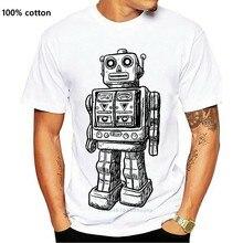 2019 moda uomo T shirt Retro Vintage Robot Toy T Shirt T Shirt Old School 100% cotone