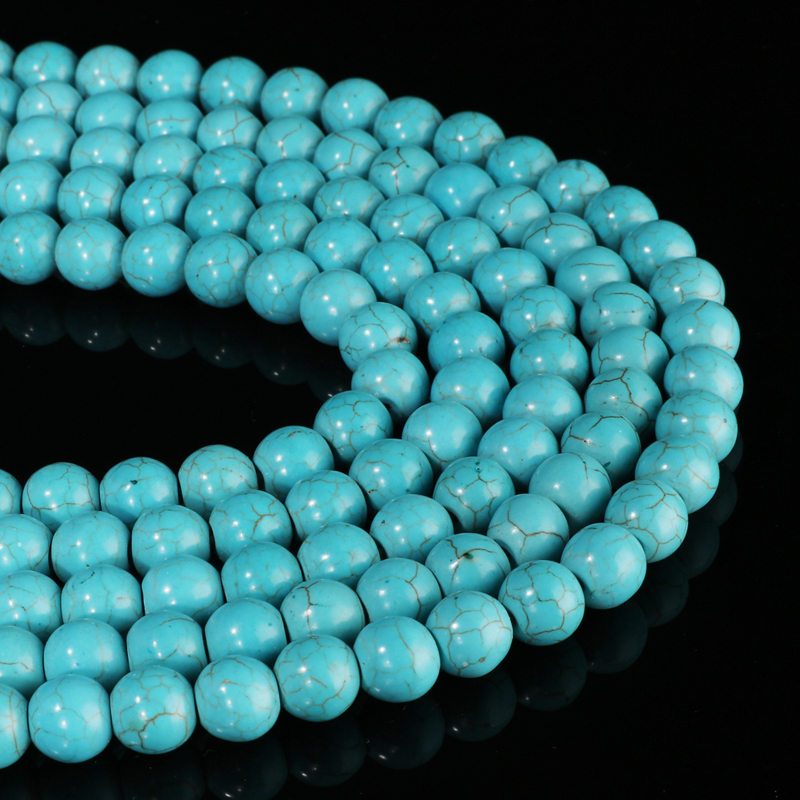 ZOSHI 100% Natural Turquoise Stone Round Loose Beads 4 6 8 10 MM Loose Bead For Jewelry Making Fit Diy Bracelet Jewelry