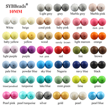 100pcs 10mm Silicone Beads Baby Teething Teether Mon Necklace Pacifier Clips Hol