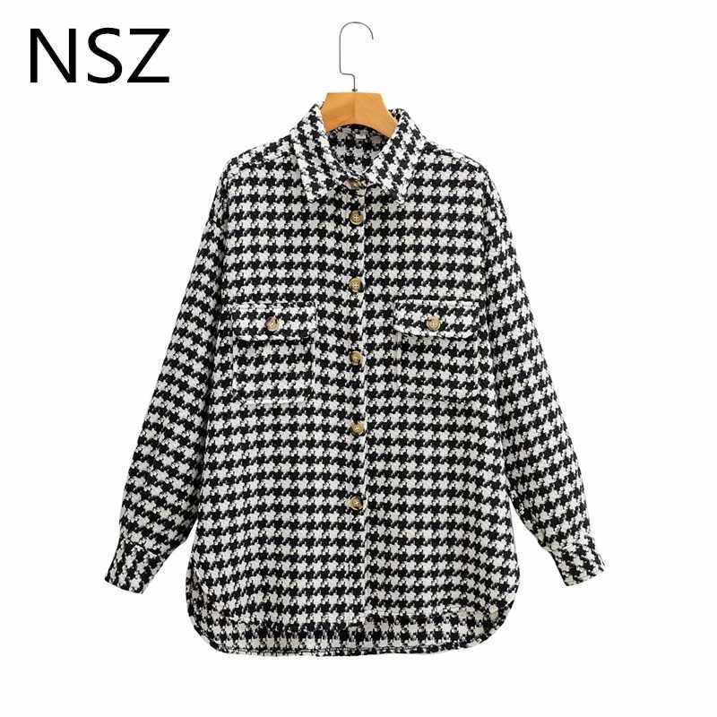 Nsz Vrouwen Zwart-wit Houndstooth Oversized Tweed Jas Wollen Blend Plaid Shirt Jas Gecontroleerd Overshirt Bovenkleding Val