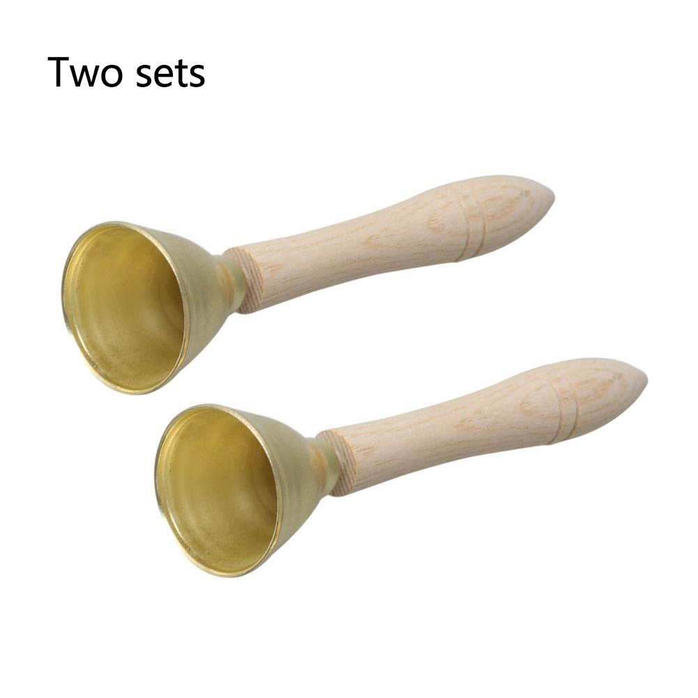 2PCS Play Wood Handle Home Portable Metal Hand Bell Musical Developmental Gift Party Children Kids Toy Wedding Non-toxic