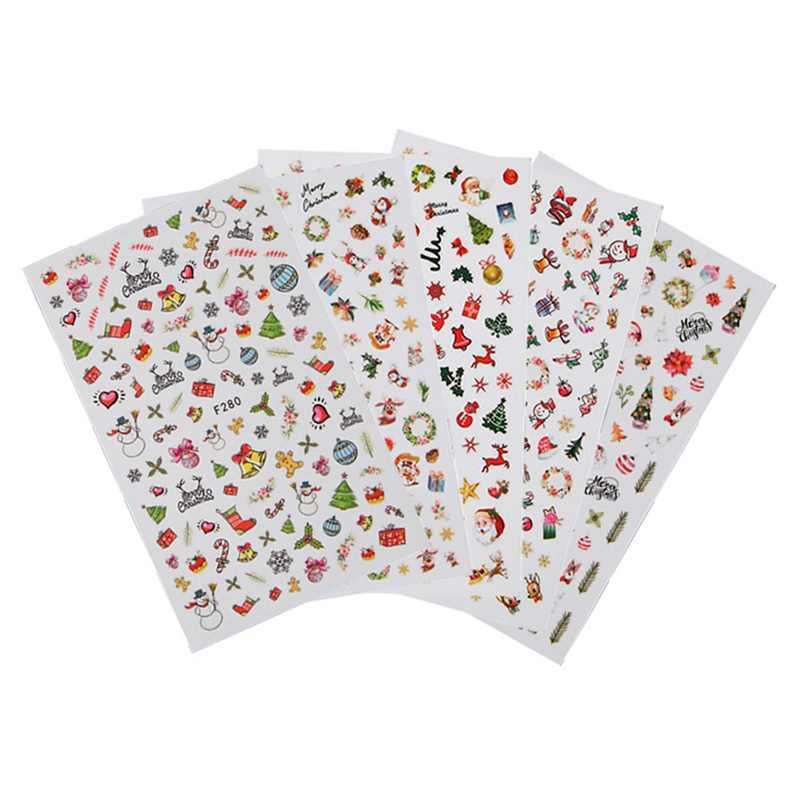 Design de Unhas Arte Adesivo Árvore de Natal Papai Noel Xmas 3D Verde Vermelho Inverno Nail Stickers Wraps Foil Sticker Manicure