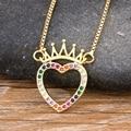 2020 модное красочное ожерелье с кулоном в виде короля из меди и циркона, очаровательные ожерелья-цепочки в форме сердца, лучшая бижутерия для...