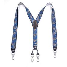 Classic Men Women 4 X Back Siver Hooks With 4 Microfiber Leather End Big Clips Suspender Solid Colors 3.5cm Width