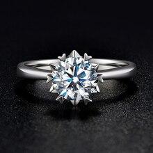 BOEYCJR 925 Silber Schneeflocke 0.5ct/1ct F farbe Moissanite VVS Verlobung Hochzeit Ring Mit nationalen zertifikat für Frauen