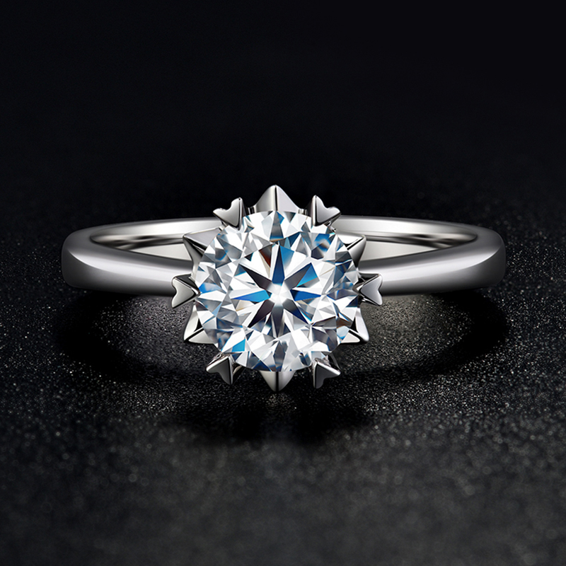 BOEYCJR 925 Silver Snowflake 0.5ct/1ct F color Moissanite VVS   Engagement Wedding Ring With national certificate for WomenRings   -