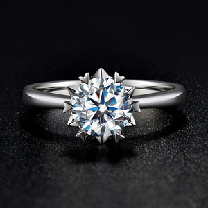 Image 1 - BOEYCJR 925 Silver Snowflake 0.5ct/1ct F color Moissanite VVS  Engagement Wedding Ring With national certificate for Women