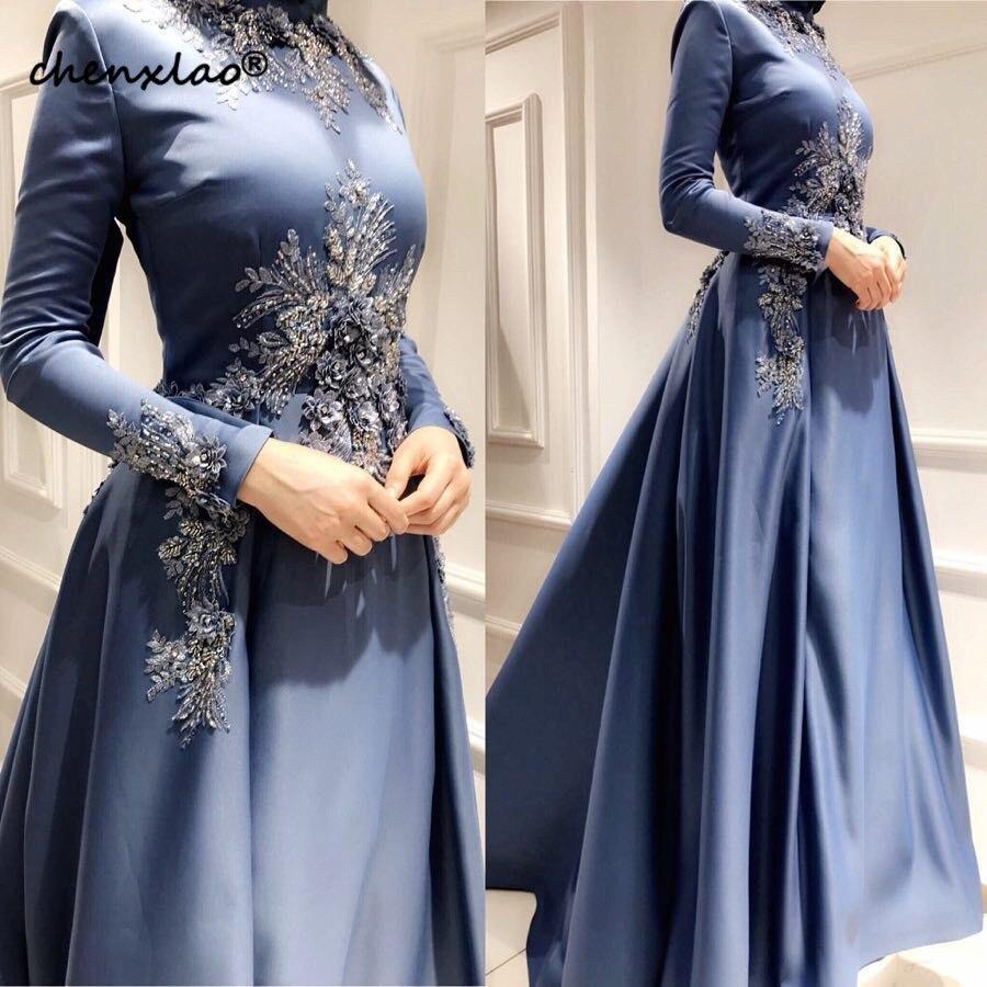 Elegante muçulmano vestidos de noite manga longa dubai árabe vestidos de noite com apliques frisado uma linha formal turquia médio oriente baile - 6