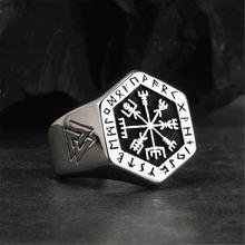 Мужское t образное кольцо с компасом викингов из нержавеющей