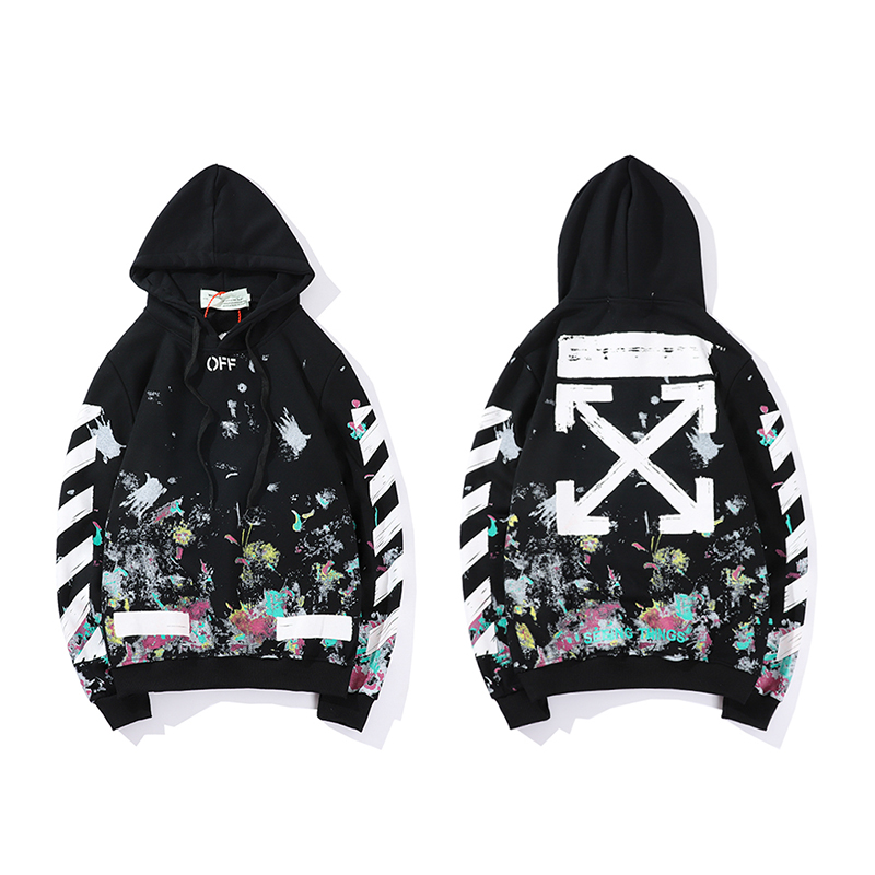 Graffiti Fireworks Arrow 19ss Off-White OW Men/Women Autumn Winter Fashion Cotton Casual Hoodie Sweatshirt Hooded Loose Jacket
