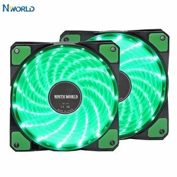 12VDC 3P IDE 4pin 120mm PC Computer 16dB Ultra Silent 15 LEDs Case Fan Heatsink Cooler Cooling Anti-Vibration Rubber,12CM Fan