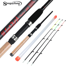 Sougayilang 3.0m Feeder Fishing Rod Lengthened Handle 6 Sections Fishing Pole L M H Power Carbon Fiber Travel Rod Fishing Tackle