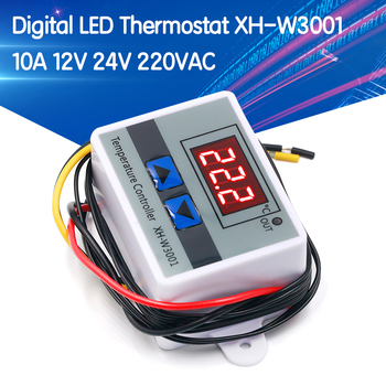 10A 12V 24V 220VAC Digital LED Temperature Controller XH-W3001 For Incubator Cooling Heating Switch Thermostat NTC Sensor w3230 switch temperature controller high accuracy digital meter led digital display heating cooling sensor instruments