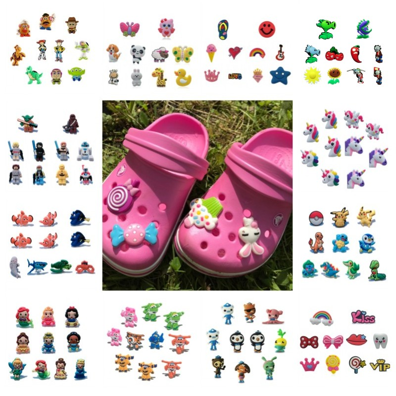10pcs Mickey Avenger PVC Shoe Charms Buckles Unicorns Animals Shoes Accessories Croc Charms JIBZ Shoe Decor Gift To Kids Friends