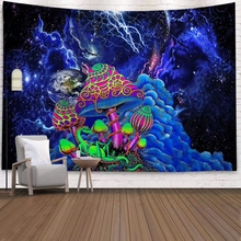 Space Mushroom Forest Castle Tapestry Fairytale Trippy Colorful Dragon Wall Hanging Tapestry for Home Deco Tapestry