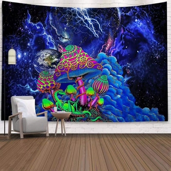 Space Mushroom Forest Castle Tapestry Fairytale Trippy Colorful Dragon Wall Hanging Tapestry for Home Deco   Tapestry Mandala wall hanging bruce lee kung fu dragon tapestry
