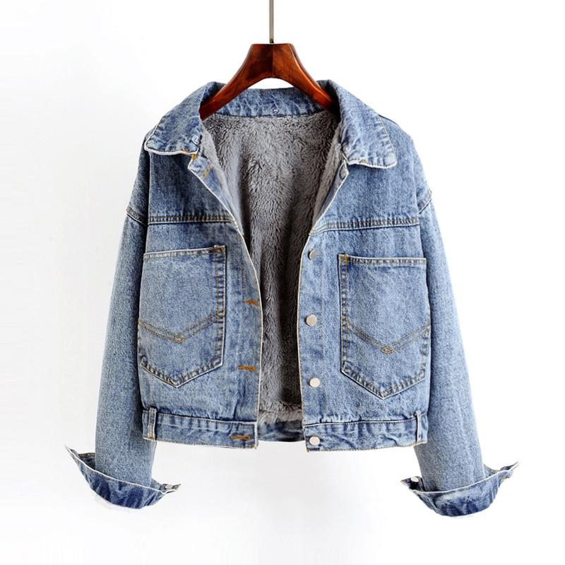NIJIUDING 2020 Winter Casual Solid Real Fur Collar Denim Jacket Female Loose Single Breasted Plus Velvet