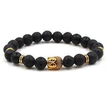 Fashion volcanic stone natural stone bracelet golden dumbbell lion head Pendant bracelet men's exercise jewelry bracelet 4