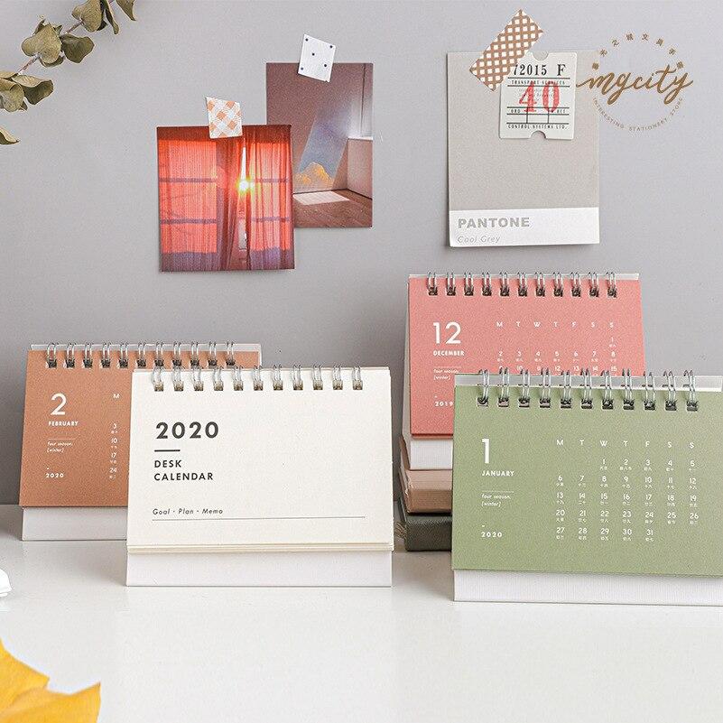 1 Pcs Simple Mini Desk Calendar 2020 Agenda Calendar Pure Color Planner Recordable Stationery School Office Supplies Gifts