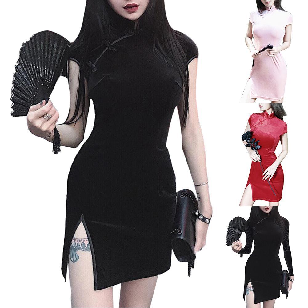 Chinese Qipao Cheongsam Elegant Velvet Short /Long Sleeve Cheongsam Chinese Frog Button Bodycon Dress Cheongsam Women Dresss