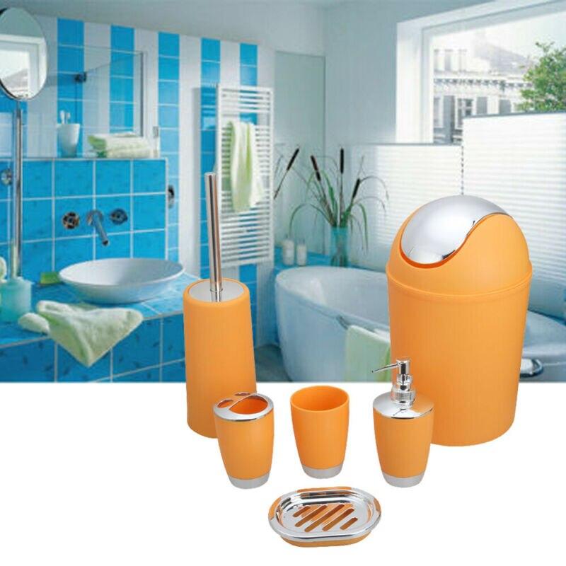 6pc Bathroom Accessories Set Bin Soap Dispenser Toothbrush Tumbler Toilet Brush Plastic Bathroom Products Accessories Set Lot