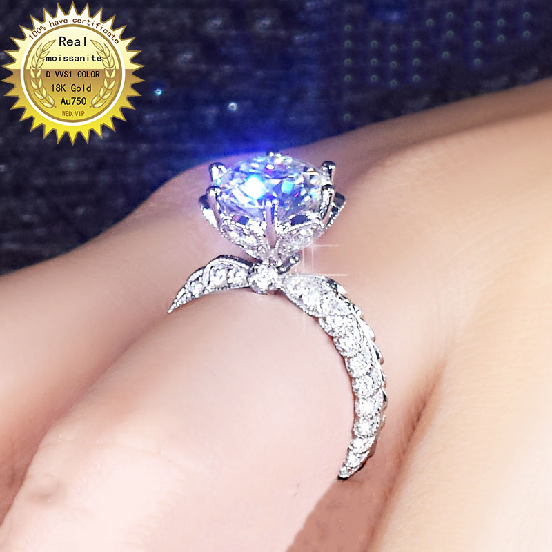 100%18K Goldr Ring 1ct D VVS Moissanite Ring Engagement&Wedding Jewellery With Certificate 0027