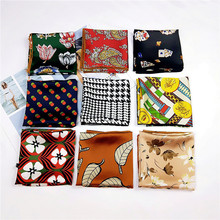 New spring autumn small square chiffon scarf for ladies towel printing High Quality Korean fashionable Handkerchiefs hairbands