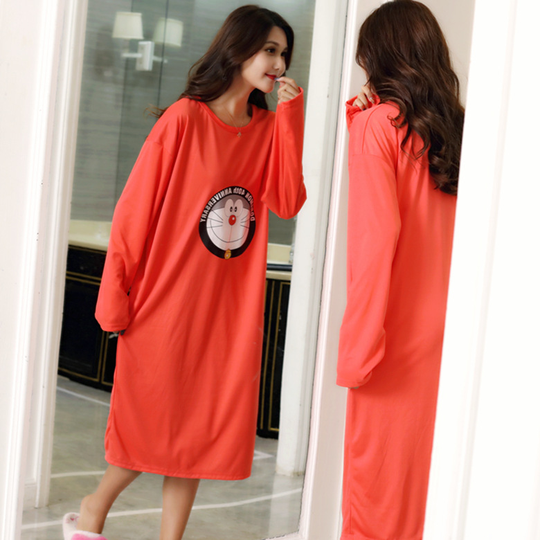 Nightgown Women's Long Sleeve Autumn & Winter Red Round Jingle Skirt M -Xxl Qmilch Double-Sided Thick
