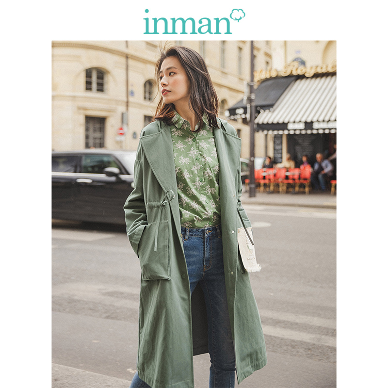 INMAN Spring Autumn Solid Cotton Hooded Turn Down Collar Pocket Fashion Women Coat
