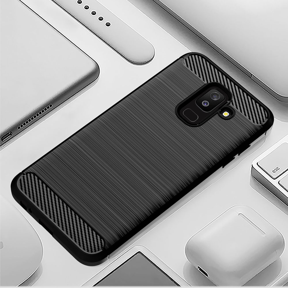 Carbon Soft Silicone Phone Case For Samsung Galaxy A6 Plus A6S 2018 Cover Bumper GalaxyA6 A6plus A62018 A6s2018 SM A600F A605F-in Half-wrapped Cases from Cellphones & Telecommunications