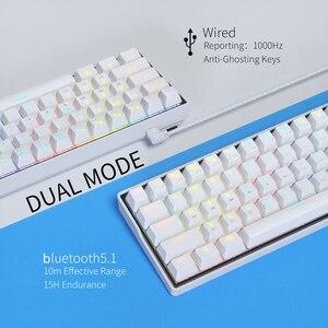 Image 2 - KEMOVE SnowFox 61 Key Mechanical Keyboard Switch 60% NKRO Bluetooth PBT Keycaps Wireless Wired Gaming Keyboard PC TABLET vs DK61