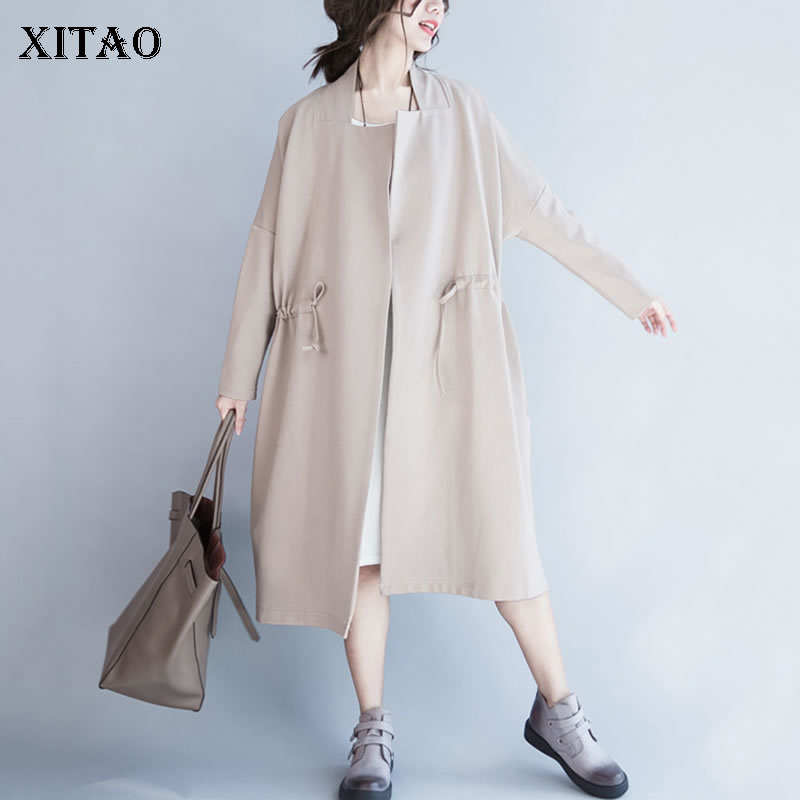 XITAO Plus Size Simple Drawstring   Trench   Women Fashion Pocket Long Match All Turn Down Collar Cardigans Coat Top New WQR1613
