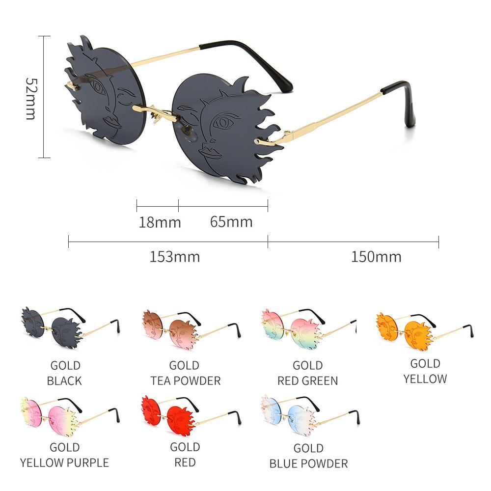 Купить модные солнцезащитные очки без оправы с луной от солнца женские