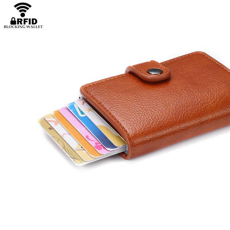 Bisi Goro 2020 Nieuwe Mode Vrouwen Knop Portemonnee Roze Rfid Blokkeren Portemonnee Pop-Up Security Card Case Slim Anti-Diefstal Id Houder