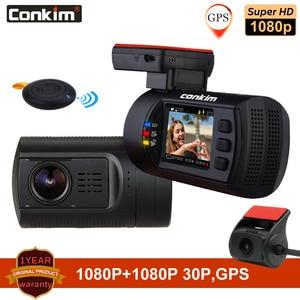 Image 1 - Conkim سيارة بعدسة مزدوجة داش كاميرات لتحديد المواقع DVR الجبهة 1080P + كاميرا خلفية 1080P FHD وقوف السيارات الحرس السيارات المسجل Mini 0906 PR0 داش كام