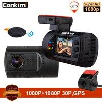 Conkim Dual Lens Car Dash Cameras GPS DVR Front 1080P+Rear Camera 1080P FHD Parking Guard Auto Registrar Mini 0906 PR0 Dash Cam