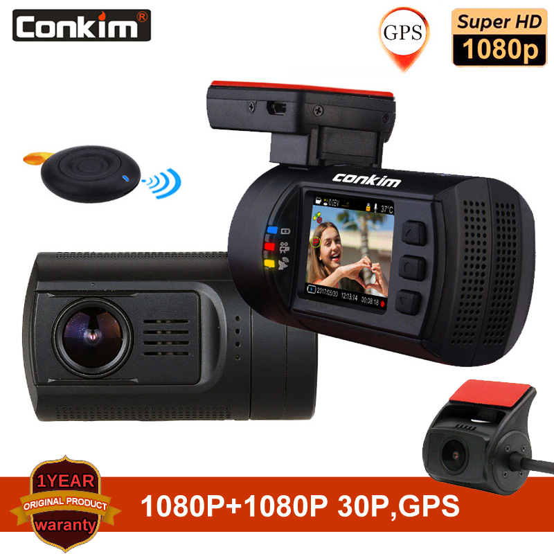 Conkim Dual Objektiv Auto Dash Kamera GPS DVR Vorne 1080P FHD + Hinten Kamera 1080P FHD Parkplatz Wache Auto Kanzler Mini 0906 Dash Cam