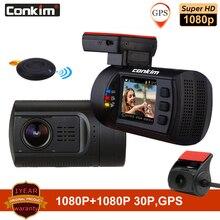 Conkim 듀얼 렌즈 자동차 대시 카메라 GPS DVR 전면 1080P + 후면 카메라 1080P FHD 주차 가드 자동 등록 기관 미니 0906 PR0 대시 캠