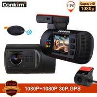Conkim double lentille voiture tableau de bord caméra GPS DVR avant 1080P FHD + caméra arrière 1080P FHD garde de stationnement Auto registraire Mini 0906 tableau de bord caméra