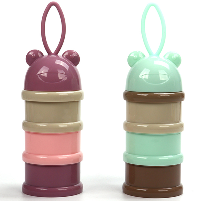 3 Layer Frog Style Portable Baby Food Storage Box Essential Cereal Cartoon Formula Dispenser Baby Stuff Bowl Storage With Lid