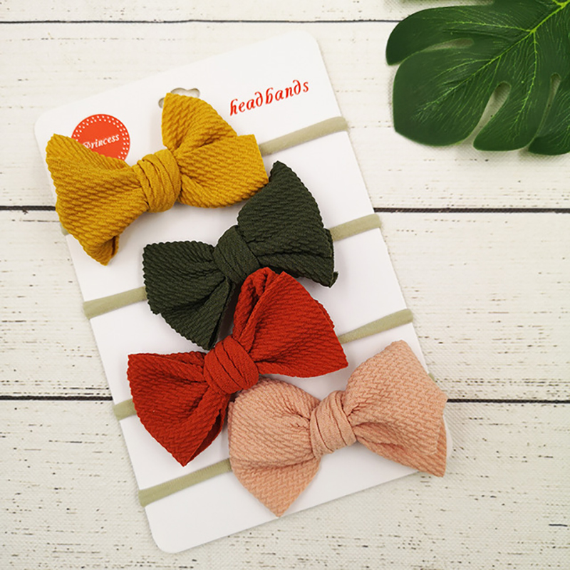 4PCS Headband Baby Girl Hair Accessories Solid Fabric Hair Bow Nylon Elastic Headband Newborn Toddler Hair Bow Hairband Diademas