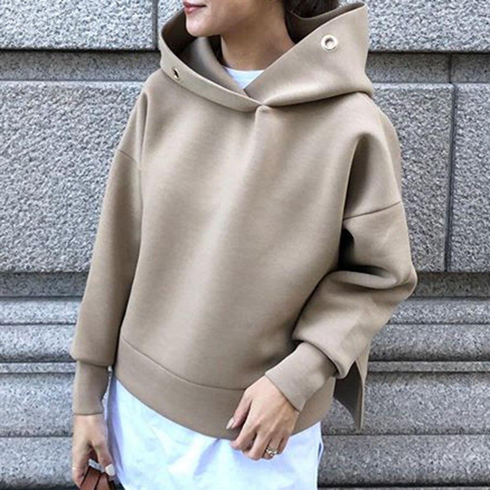 Women Solid Hoodie Autumn Spring 2020 Office Ladies Elegant Pullover Hooded Coat Japanese Korean Causal Tops Outwear Brown