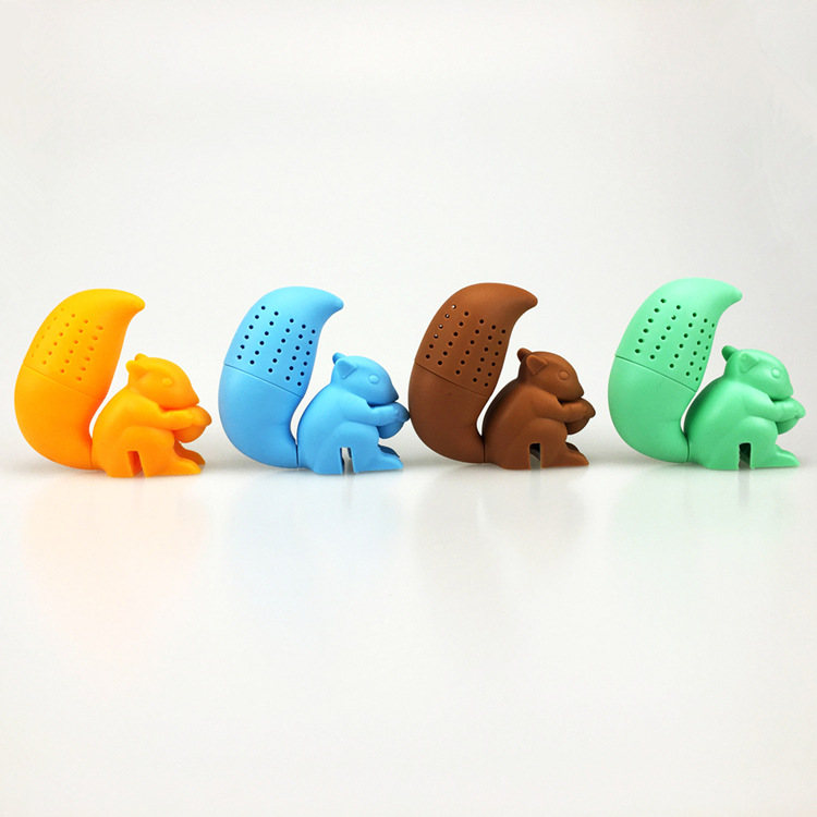 Silica Gel CHILDREN'S Toy Squirrel Tea Strainer Multi-functional Tea Small Squirrel Baby Toy Gift Tea Making Device Tea Bags