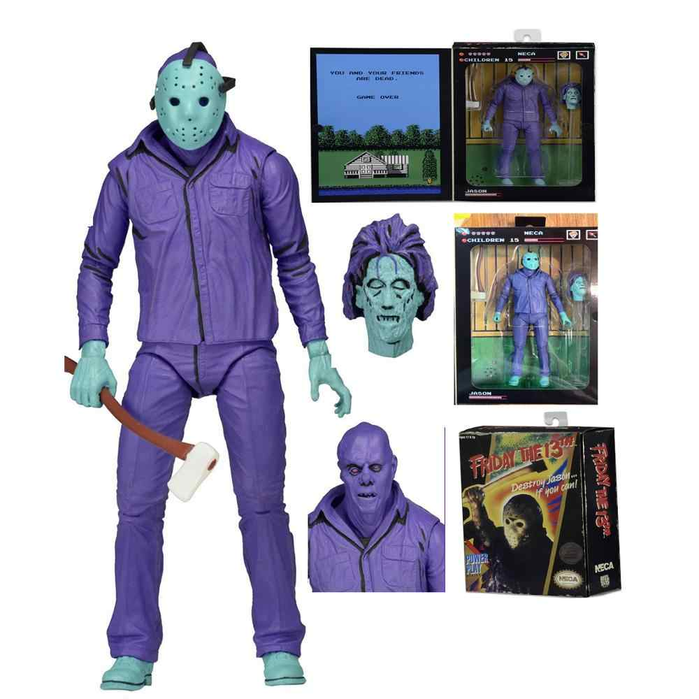 Original NECA Horror Jason Friday the 13th Destruir Video Game Jogo de Poder com música Versão Action Figure Toys Dolls Presente