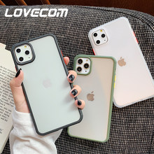 LOVECOM Armour Shockproof Transparent Case For iPhone 11 Pro Max XR X 7 8 Plus Candy Color Frame Fll Body Soft Shell Phone Cover(China)