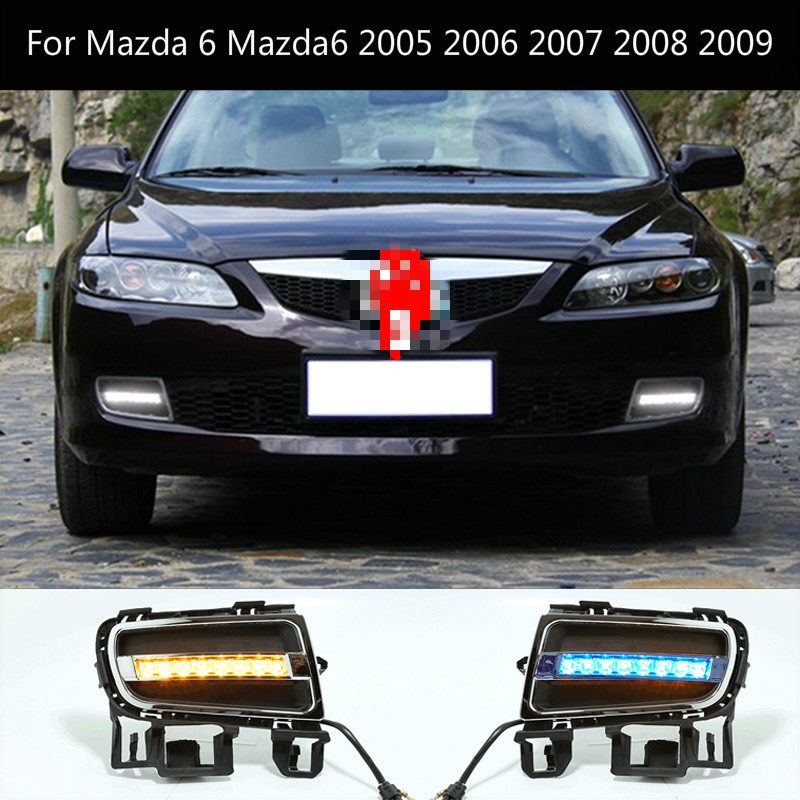 1Pair DRL For <font><b>Mazda</b></font> <font><b>6</b></font> Mazda6 2005 2006 2007 2008 2009 Daytime Running <font><b>Lights</b></font> fog lamp cover headlight 12V Daylight image