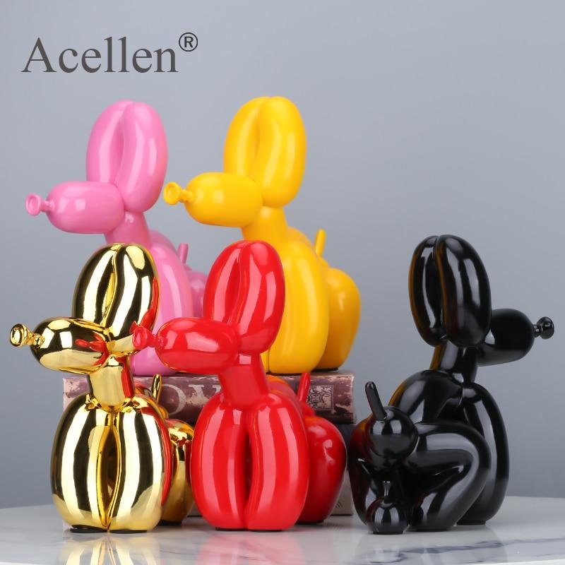 Animais estatueta resina bonito agachamento cocô balão forma do cão estátua arte escultura estatueta artesanato mesa acessórios de decoração para casa