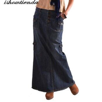 Womens Fashion Long Mid Waist Button Pocket Front Straight Denim Maxi Skirts harajuku 2020 skirts womens фото