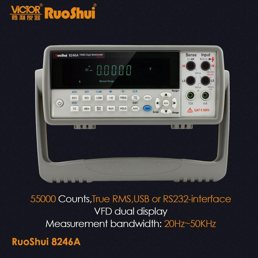 RuoShui VC8246B 8246A настольный цифровой мультиметр автоматический диапазон True RMS 55000 RS232 Вольтметр DC/AC Cap. Freq. Температурный тест