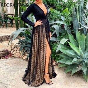 Deep V Dot Mesh Dress Maxi Dress Party Dress Black Dress
